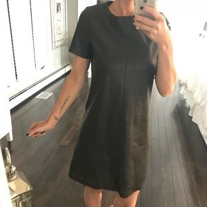 ZARA NWT Black faux leather dress XS